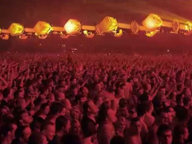 A frame from a video of Qlimax 2014