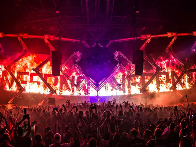 A frame from a video of Qlimax 2015